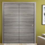 SARTODOORS Planum 0010 Interior Closet Sliding Solid Wood Bypass Doors Ginger Ash with Track Hardware Set