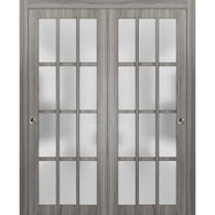 Sliding Closet Frosted Glass 12 Lites Bypass Doors | Felicia 3312 Ginger Ash Gray | Sturdy Top Mount Rails Moldings Trims Hardware Set | Wood Solid Bedroom Wardrobe Doors