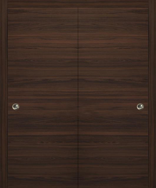 SARTODOORS Planum 0010 Interior Closet Sliding Solid Wood Bypass Doors Chocolate Ash with Track Hardware Set