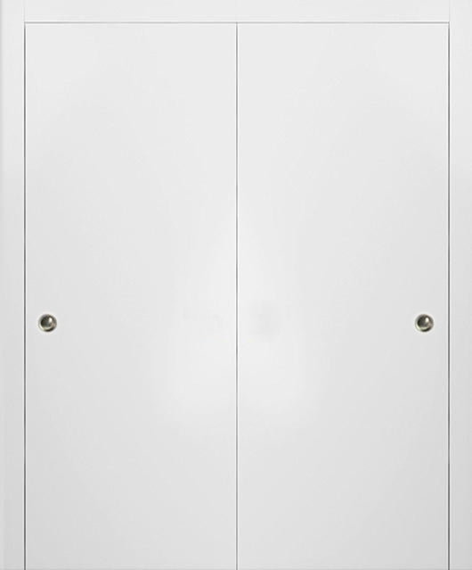 SARTODOORS Planum 0010 Interior Closet Sliding Solid Wood Bypass Doors White Silk with Track Hardware Set