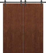 SARTODOORS Planum 0010 Modern Interior Solid Wood Flush Closet Double Barn Doors Walnut Modena with Track 13FT Rail Hardware Set