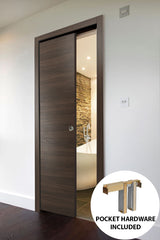 Planum 0010 Modern Interior Solid Wood Flush Sliding Closet Pocket Door Chocolate Ash with Frames, Pulls, Track Hardware Set