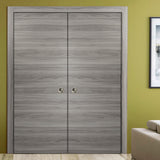 SARTODOORS Planum 0010 Modern Interior Closet Sliding Flush Double Pocket Doors Ginger Ash with Frames Tracks Hardware Set