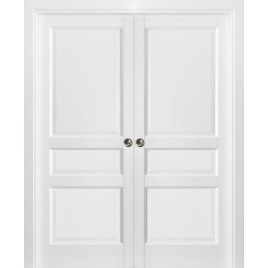 timeless design 16cf8 95eb4 French Double Pocket Doors | Lucia 31 White Silk | Kit Trims Rail Hardware  | Solid Wood Interior Pantry Kitchen Bedroom Sliding Closet Sturdy Door