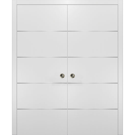 Planum 0020 Interior Sliding Closet Double Pocket Doors White Silk with Frames Tracks Pulls