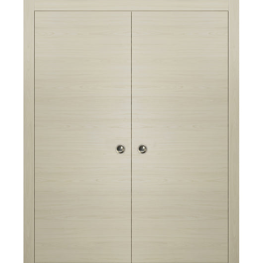 Planum 0010 Modern Interior Closet Sliding Flush Double Pocket Doors Milk Ash with Frames Tracks Hardware Set