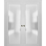 Planum 2102 Interior Sliding Closet Double Pocket Doors White Silk with Frames Tracks Pulls