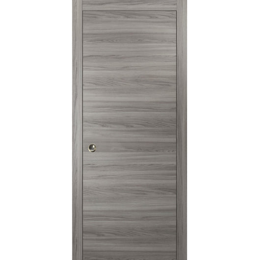 Planum 0010 Modern Interior Solid Wood Flush Sliding Closet Pocket Door Ginger Ash with Frames, Pulls, Track Hardware Set