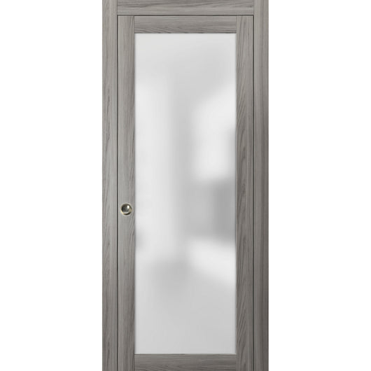 Planum 2102 Interior Sliding Closet Pocket Door Ginger Ash with Frames Track Pulls