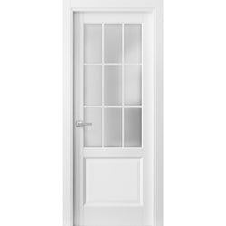 Solid French Door Frosted Glass 9 Lites | Felicia 3309 Matte White | Single Regural Panel Frame Trims Handle | Bathroom Bedroom Sturdy Doors