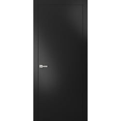 Modern Solid Interior Door with Handle | Planum 0010 Black Matte | Single Regural Panel Frame Trims | Bathroom Bedroom Sturdy Doors