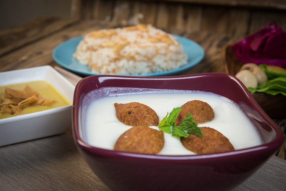 Kibbeh with Yogurt & Rice