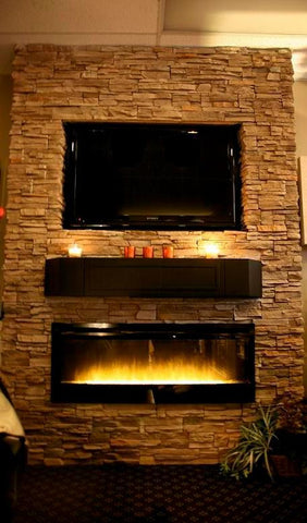 Stone wall with custom shelf