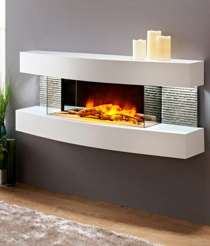 Fireplace world Miami Curve Modern White Wall mount Log set