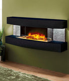 Texas Curve Modern Fireplace World Wall Mount Black