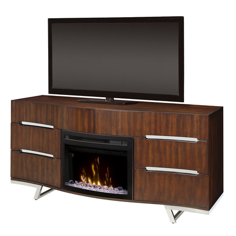 Valentina Electric Fireplace Entertainment Center in Burnished Cherry