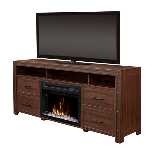 Thom Electric Fireplace Media Console in Grainery Brown