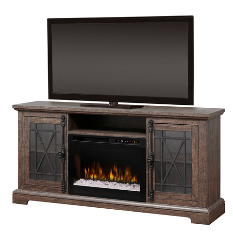 Natalie Electric Fireplace Media Console in Elm Brown