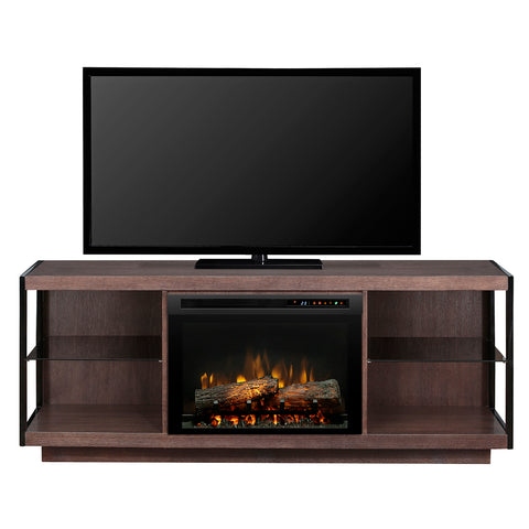 Leif Electric Fireplace Media Console in Turbinado Brown