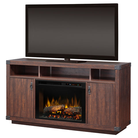 Dimplex Dale Electric Fireplace Media Console in Grainery Brown with Logs