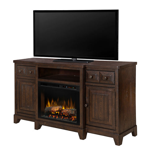 Heinrich Electric Fireplace Media Console in Wentworth Brown