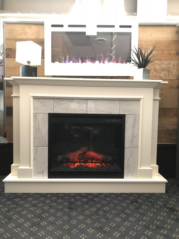 The Jasper Custom Entertainment Center in Cloud White W/ DFR2651L Electric Firebox
