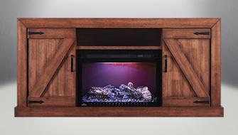 Napoleon Lambert Electric Fireplace Media Console in Rustic Wood -  NEFP27-0519RW
