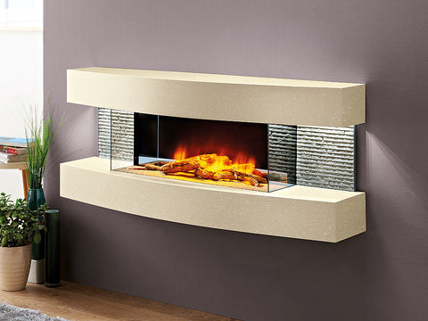 "Miami Curve Marfil 48"" Electric Fireplace Wall Mount"