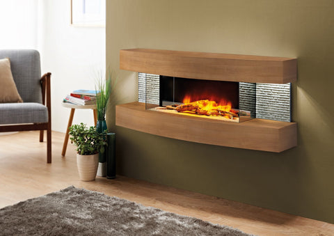 "Miami Curve American Oak 48"" Electric Fireplace Wall Mount"