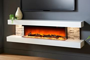 "Evolution Fires 72"" Vegas White Wall Mount Electric Fireplace"