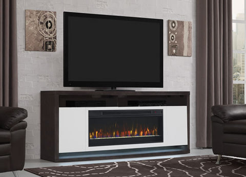 Classic Flame Bal Harbour Electric Fireplace Media Console in White and Black Walnut - 42MM8496-PW07