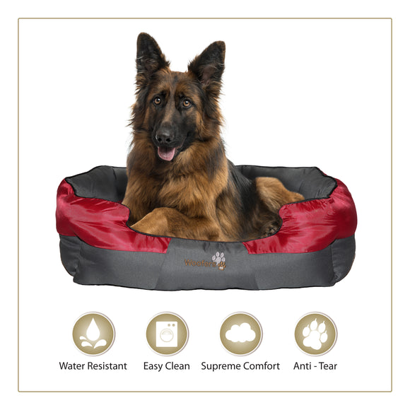Woofers Boyne Dog Bed X Large Red & Grey Water Resistant Durable Polyester To Suit German Shepard
