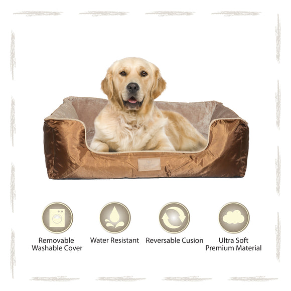 Yappy Dakota Dog Bed X Large Brown Oxford Water Resistant Exterior-Beige Micro Fibre Interior To Suit Labrador