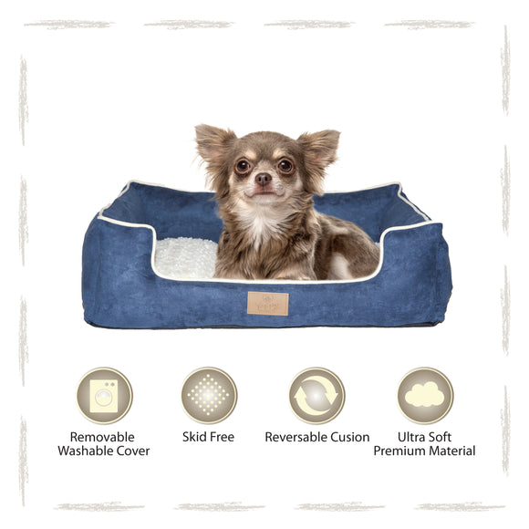 Yappy Dakota Dog Bed Small Navy Suede Exterior-Polar White Fleece Interior To Suit Chihuahua