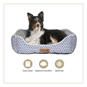 Woofers Nore Dog Bed Large Blue & White Print Canvas-Grey Fleece Interior To Suit Border Collie