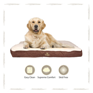 Yappy Roxy Dog Bed X Large Mattress Brown Suede-Cream Fleece Interior To Suit Labrador