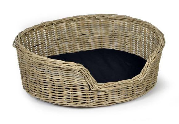 Woofers Wicker Dog Bed Basket  | Round - Dog Nappers Dog Beds