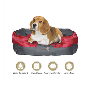 Woofers Boyne Medium Dog Bed | Red & Grey - Dog Nappers Dog Beds
