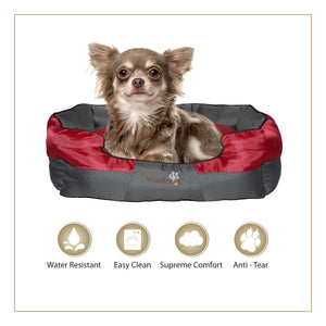 Cool Woofers Boyne Dog Bed Small Red Grey Water Resistant Squirreltailoven Fun Painted Chair Ideas Images Squirreltailovenorg