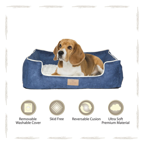 Yappy Dakota Medium Dog Bed | Navy Suede - Dog Nappers Dog Beds