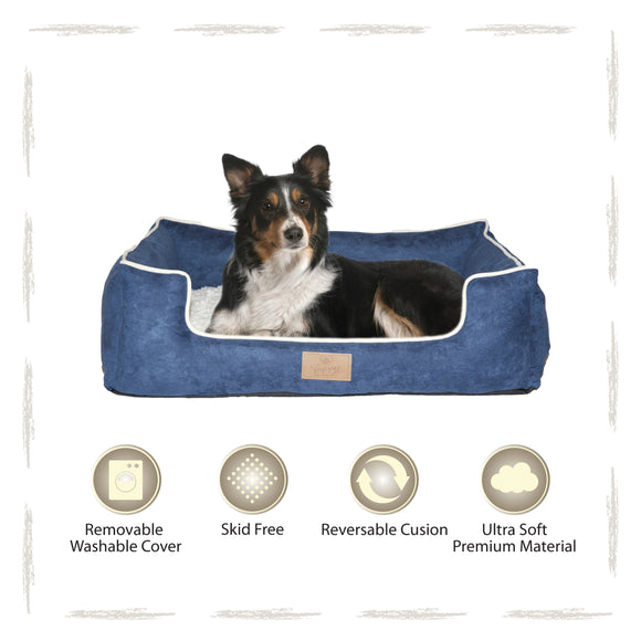 Yappy Dakota Large Dog Bed | Navy Suede - Dog Nappers Dog Beds