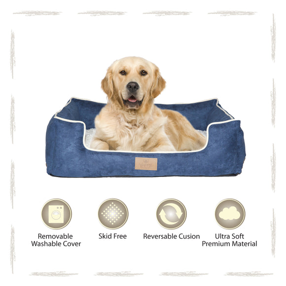 Yappy Dakota X Large Dog Bed | Navy Suede - Dog Nappers Dog Beds