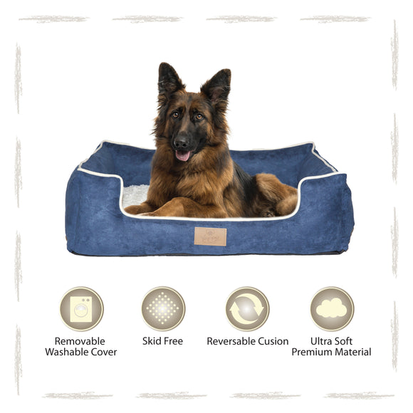 Yappy Dakota XX Large Dog Bed | Navy Suede - Dog Nappers Dog Beds