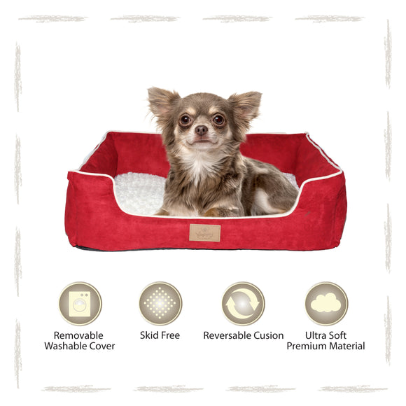 Yappy Dakota Small Dog Bed | Red Suede - Dog Nappers Dog Beds