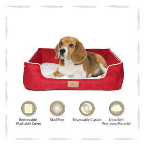 Yappy Dakota Medium Dog Bed | Red Suede - Dog Nappers Dog Beds