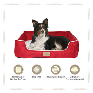 Yappy Dakota Large Dog Bed | Red Suede - Dog Nappers Dog Beds