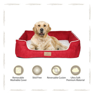 Yappy Dakota X Large Dog Bed | Red Suede - Dog Nappers Dog Beds