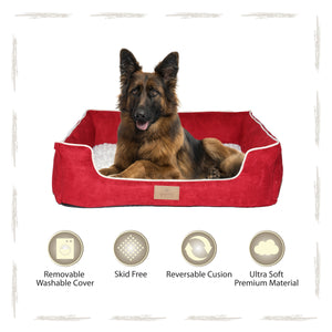 Yappy Dakota XX Large Dog Bed | Red Suede - Dog Nappers Dog Beds
