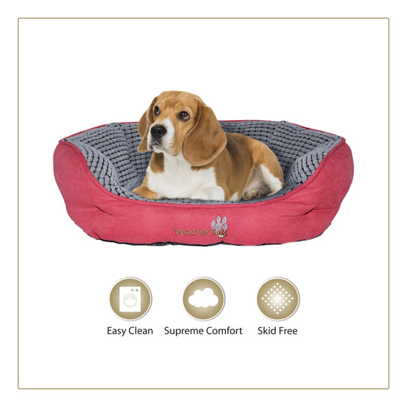 Woofers Lagan Medium Dog Bed | Red & Grey - Dog Nappers Dog Beds