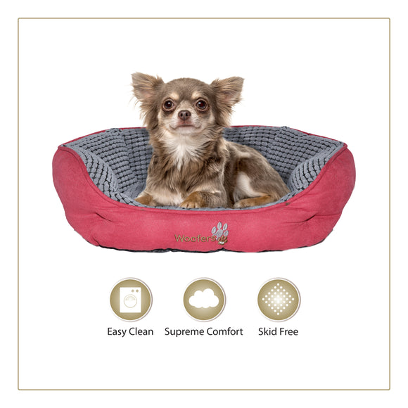 Woofers Lagan Small Dog Bed | Red & Grey - Dog Nappers Dog Beds
